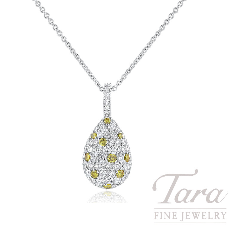 "18K White Gold Fancy Yellow and White Diamond Pave Drop Necklace, 16"" Chain, 6.0G, .30TDW Fancy Yellow Diamonds, 1.37TDW  White Diamonds"