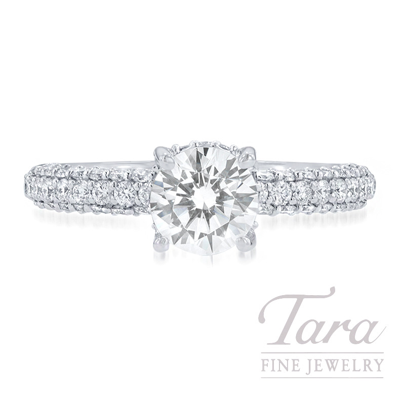Ritani 18k White Gold Pave Diamond Engagement Ring, 4.4G, .79TDW