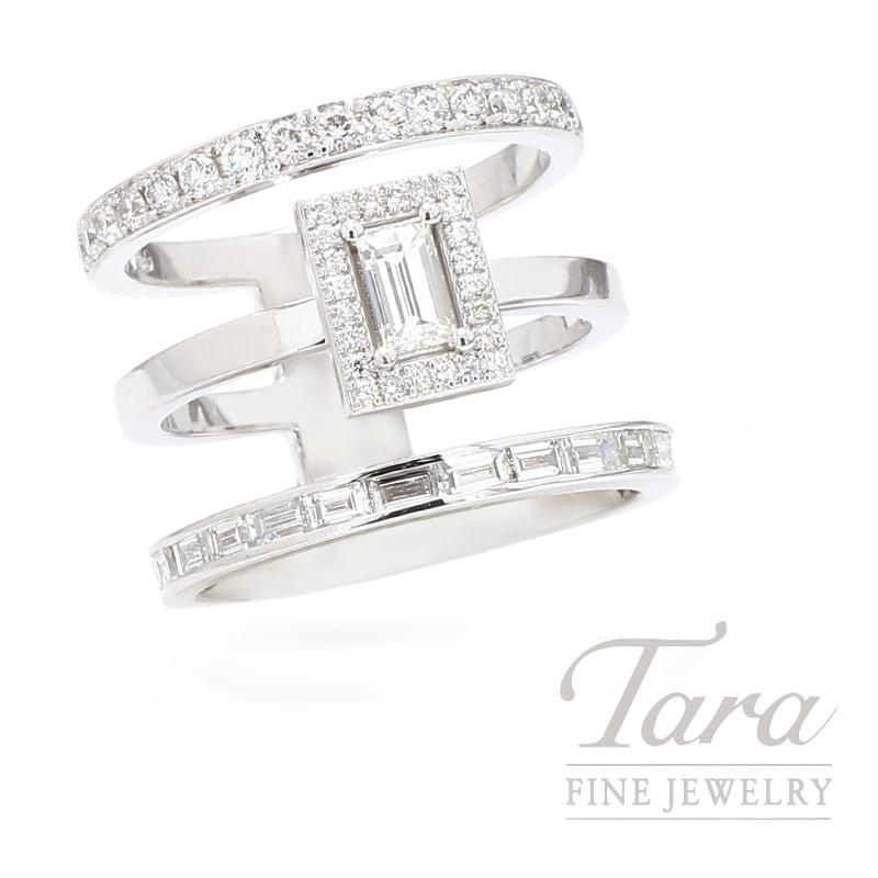 Norman Covan 18K White Gold Three Row Diamond Fashion Ring
