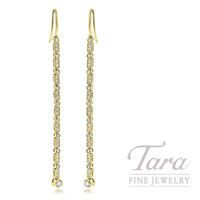 18K Yellow Gold Diamond Bezel Dangle Earrings, 4.0G, .77TDW