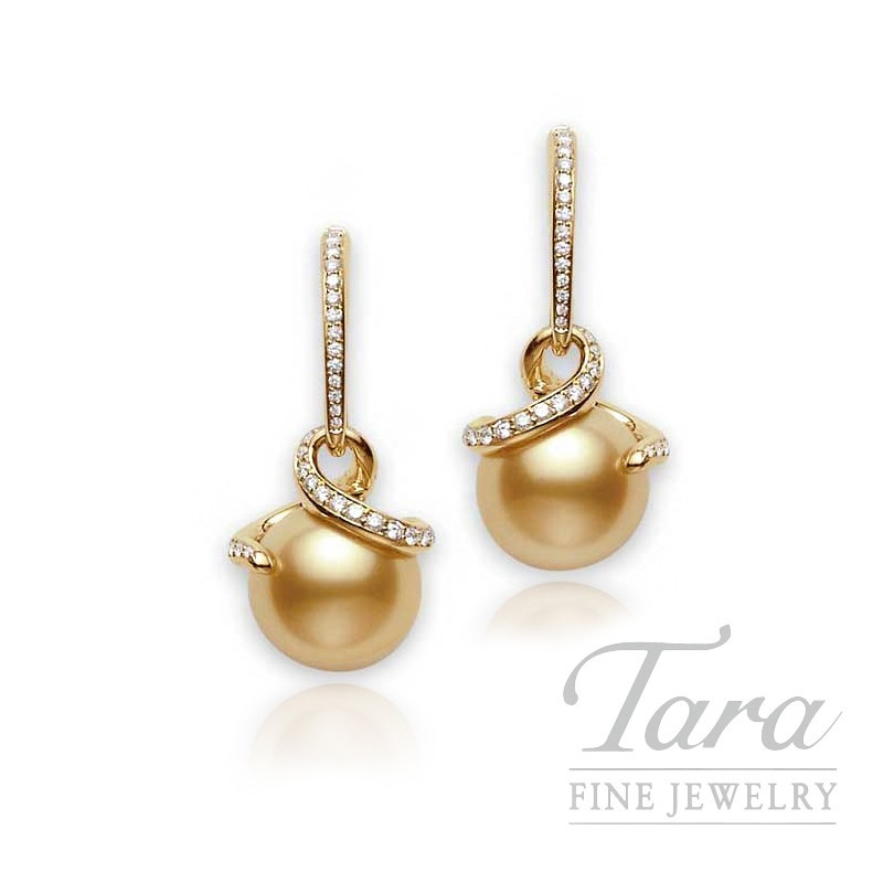 Mikimoto Pearl & Diamond Earrings with 11mm Golden South Sea Pearl, .45tdw