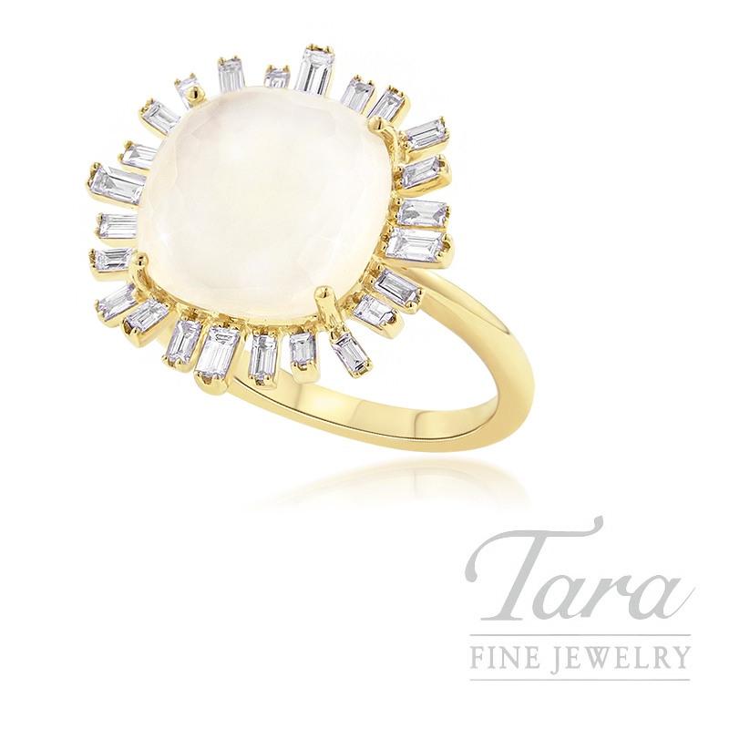 18K Yellow Gold White Topaz, Mother of Pearl, & Baguette Diamond Ring, 6.0G, .51TDW
