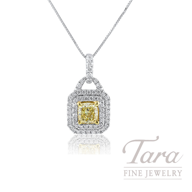 Forevermark 18K Two-Tone Fancy Yellow Diamond Double Halo Pendant, .71CT Fancy Yellow Diamond, .32TDW
