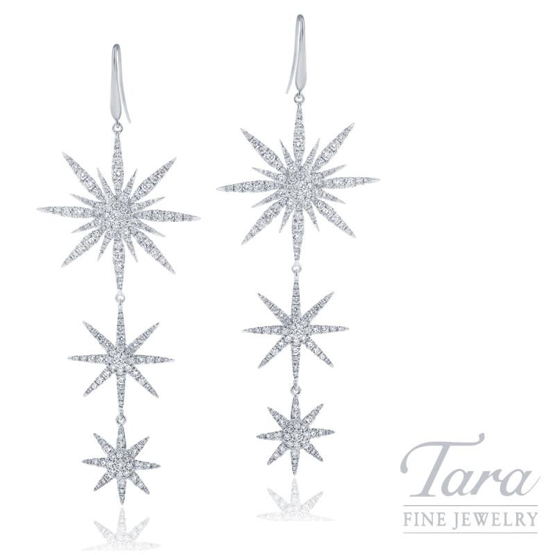 18K White Gold Diamond Sparkler Earrings, 11.3G, 4.25TDW