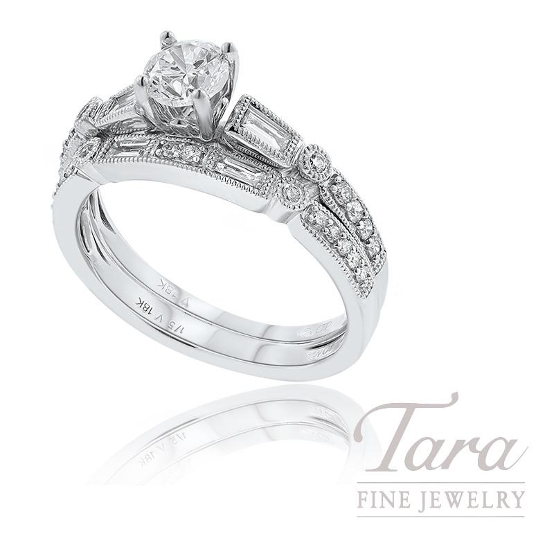 18k White Gold Baguette and Round Diamond Wedding Set, .49CT Round Diamond, .40TDW (Center Stone Sold Separately)