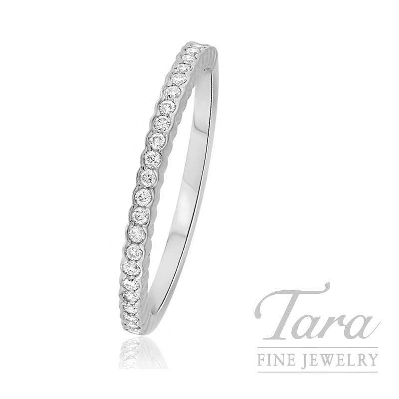 18K White Gold Diamond Bezel Stackable Ring, 1.5G, .14TDW
