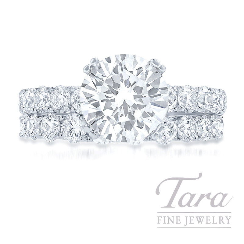 18k White Gold Diamond Wedding Set, 1.62TDW (Center Stone Sold Separately)