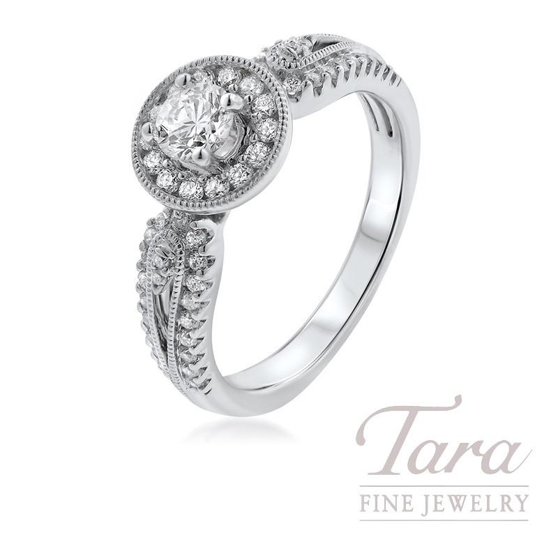 14K White Gold Diamond Halo Engagement Ring, .30CT Center Diamond, .40TDW
