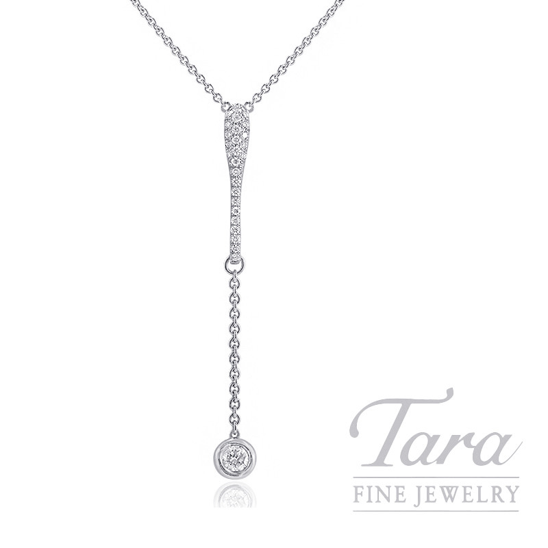 "Norman Covan 18k White Gold Pave and Diamond Bezel Necklace, 16"" Chain, 6.4G, .59TDW"