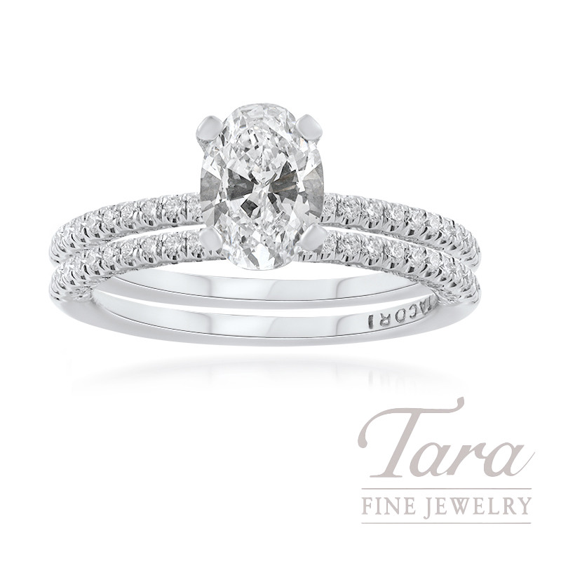 Tacori 18K White Gold Oval Diamond Wedding Set, 1.11CT Oval Diamond, .60TDW (Center Stone Sold Separately)