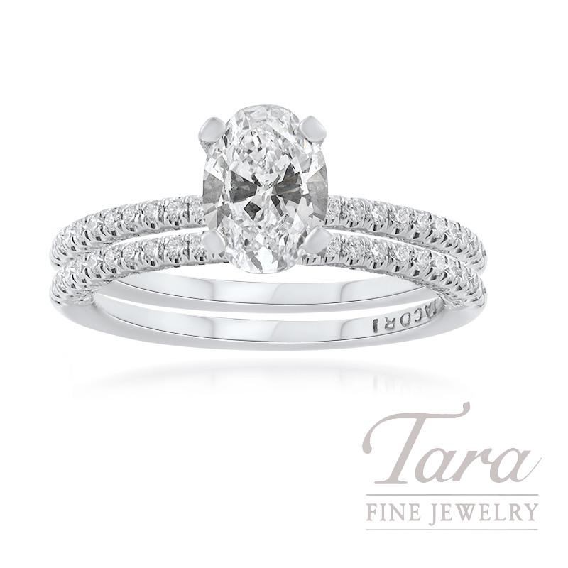 Oval Wedding Set | Tacori 18k White Gold Oval Diamond Wedding Set 1 11ct Oval Diamond
