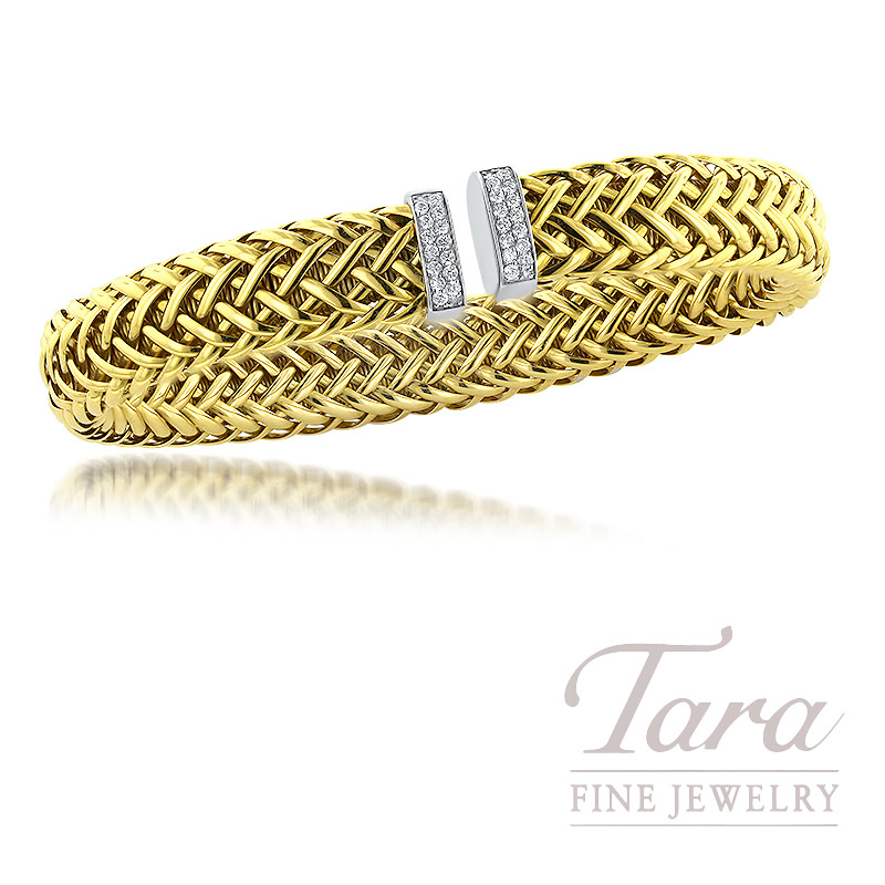 Roberto Coin 18K White/Yellow Gold Primavera Woven Diamond Bracelet, 28 Round Diamonds, 27TDW