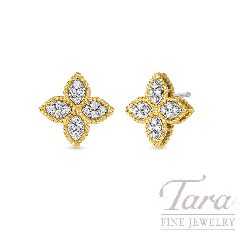 Roberto Coin 18k Yellow Gold Princess Flower Diamond Stud Earrings 38tdw Collection