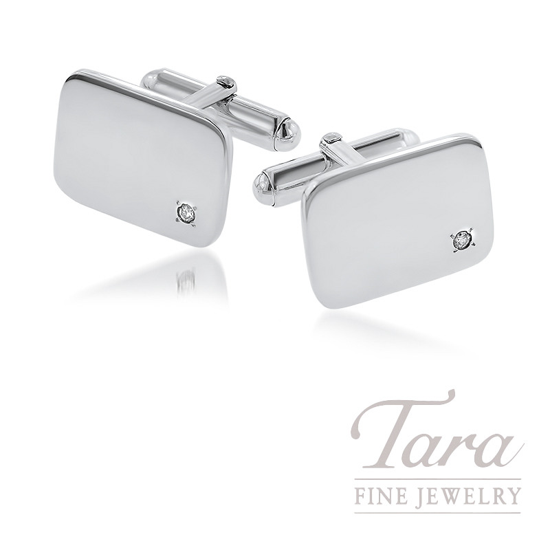 Rectangular Sterling Silver Cufflinks With Diamond
