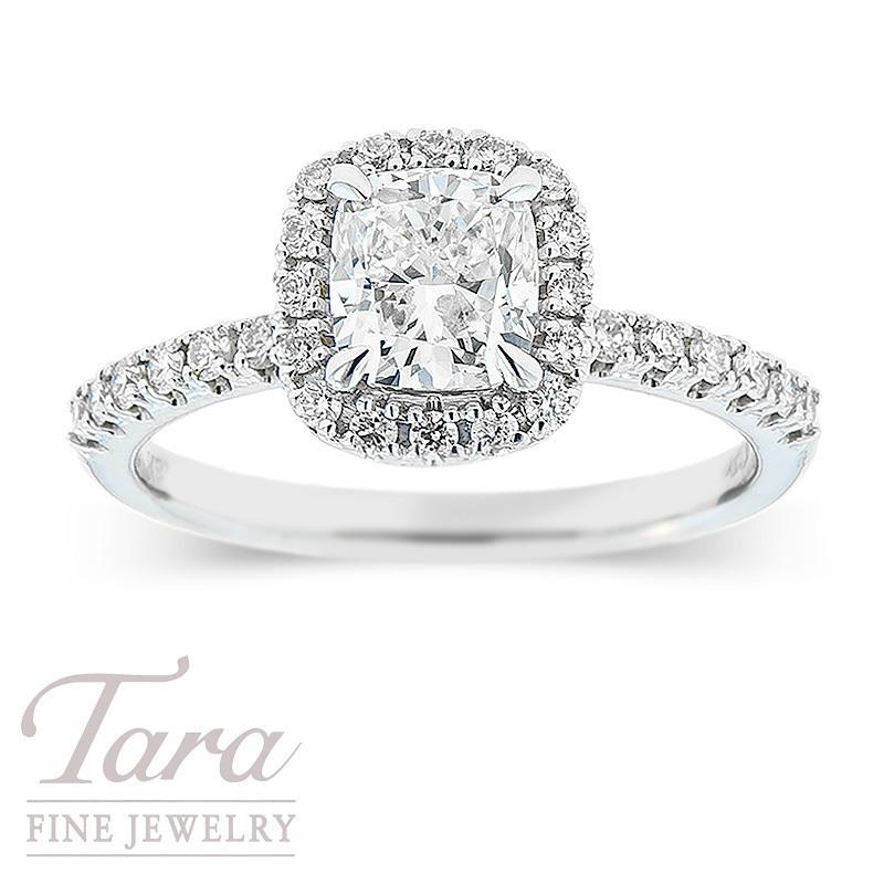 Forevermark 18k White Gold Cushion Diamond Halo Engagement Ring, 1.02CT Round Diamond, .32TDW