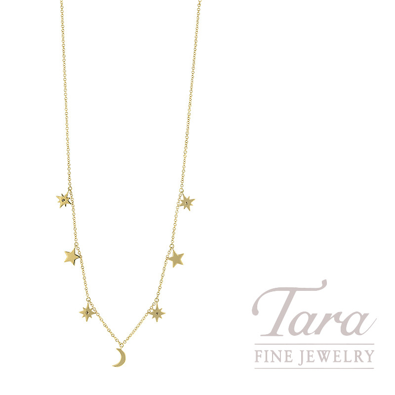 "18K Yellow Gold Diamond Star and Moon Necklace, 16/17/18"" Chain Necklace, 0.18TDW, 3.2G"