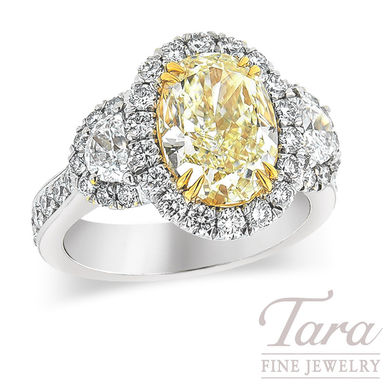 Fancy Yellow Diamond Ring in Platinum & 22k Yellow Gold, 3.03ct Center, .58 TDW Half Moons, 1.28 TDW Rounds