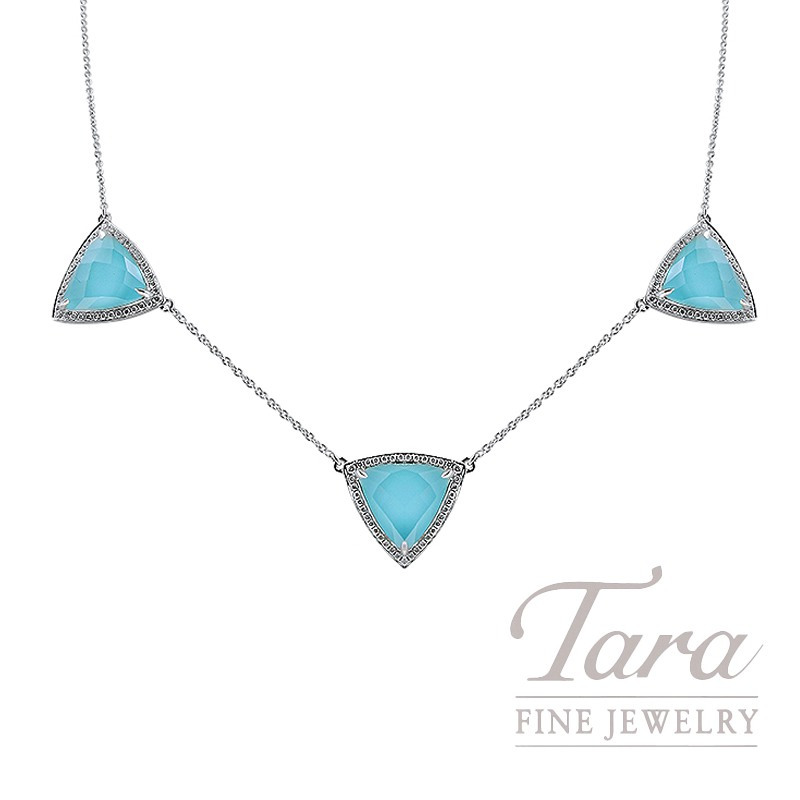 "18K White Gold White Topaz, Turquoise, and Diamond Triangle Necklace, 16/18"" Chain, 7.3G, .31TDW"