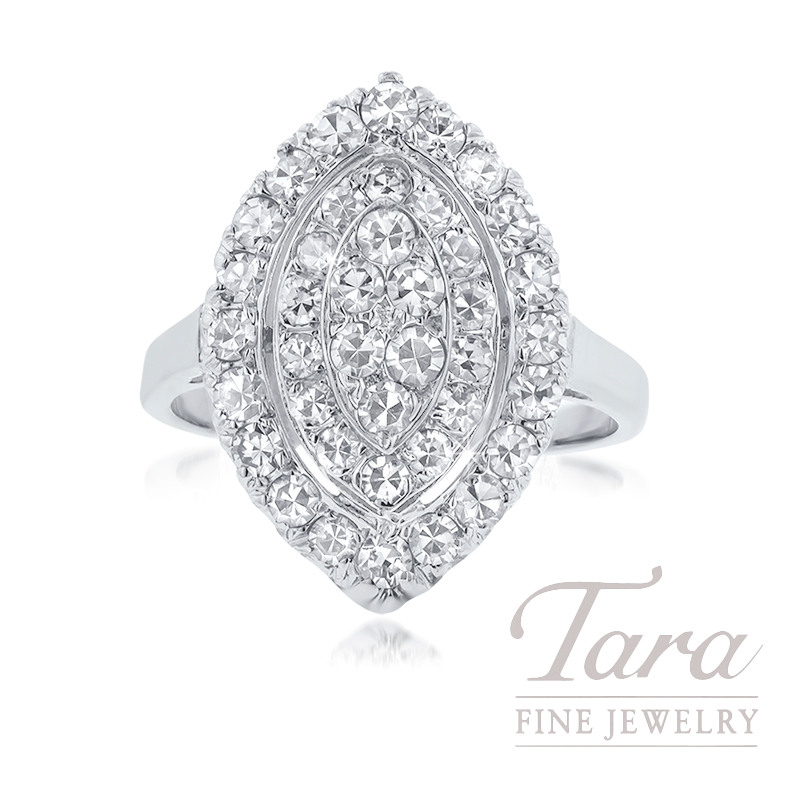14k White Gold Diamond Estate Ring, 4.1G, .50TDW