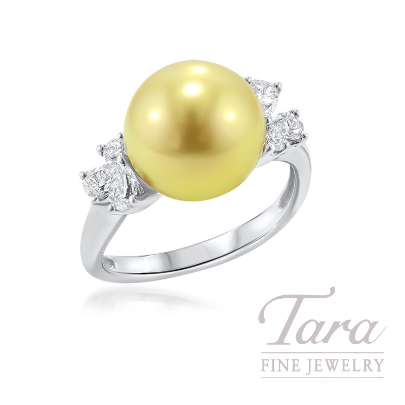 18k White Gold Golden South Sea Pearl and Diamond Ring, 11mm Pearl, .52TDW