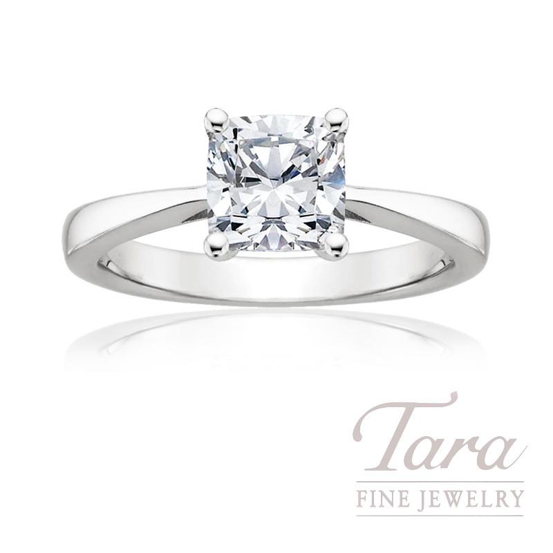 18k White Gold Cushion Cut Diamond Solitaire Engagement Ring, 1.75CT Cushion Diamond