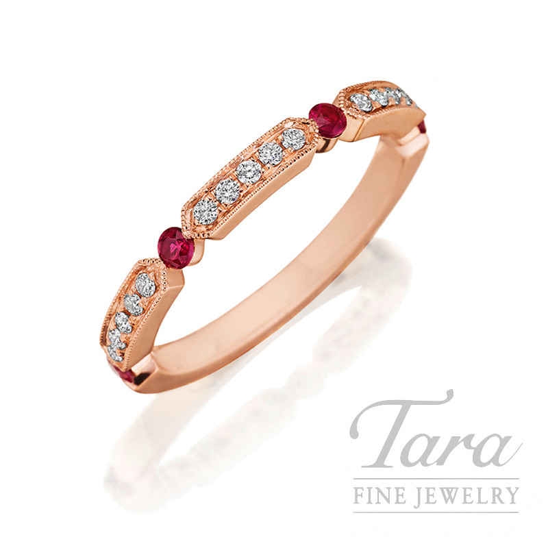 Henri Daussi 14k Rose Gold Diamond and Ruby Band, Diamonds .11TDW, Rubies .18TGW