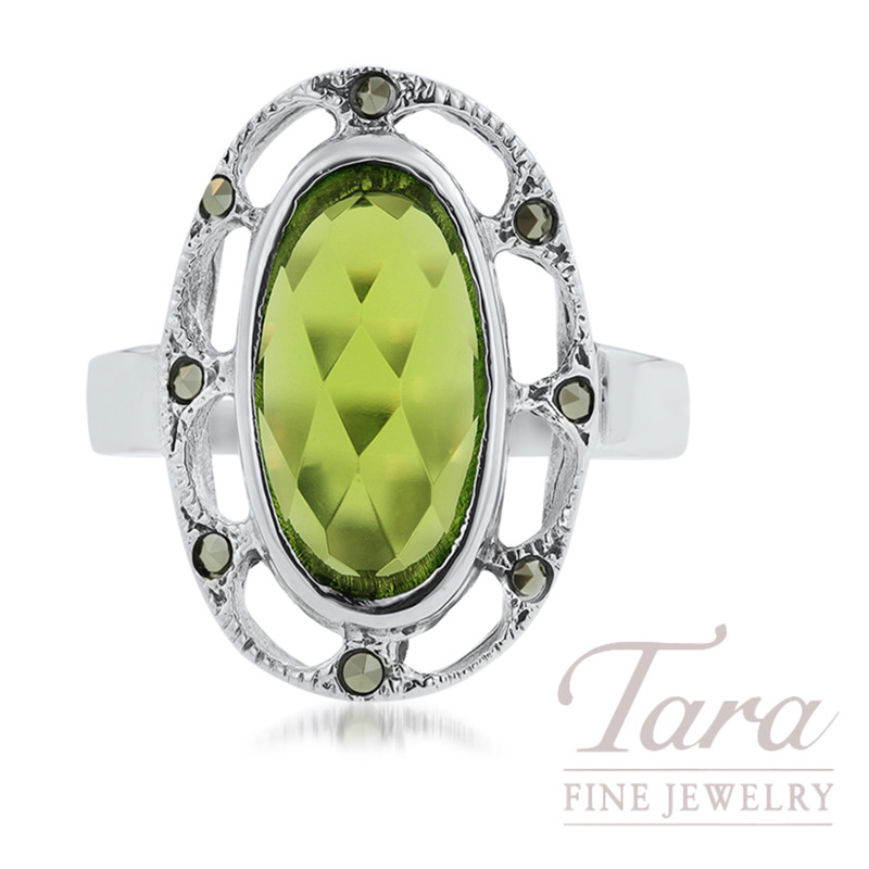 Sterling Silver Green Glass & Marcasite Ring, 4.6G