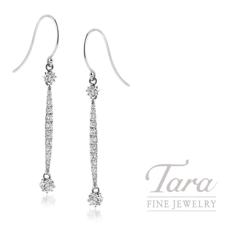 18K White Gold Diamond Dangle Earrings, 1.9G, .80TDW