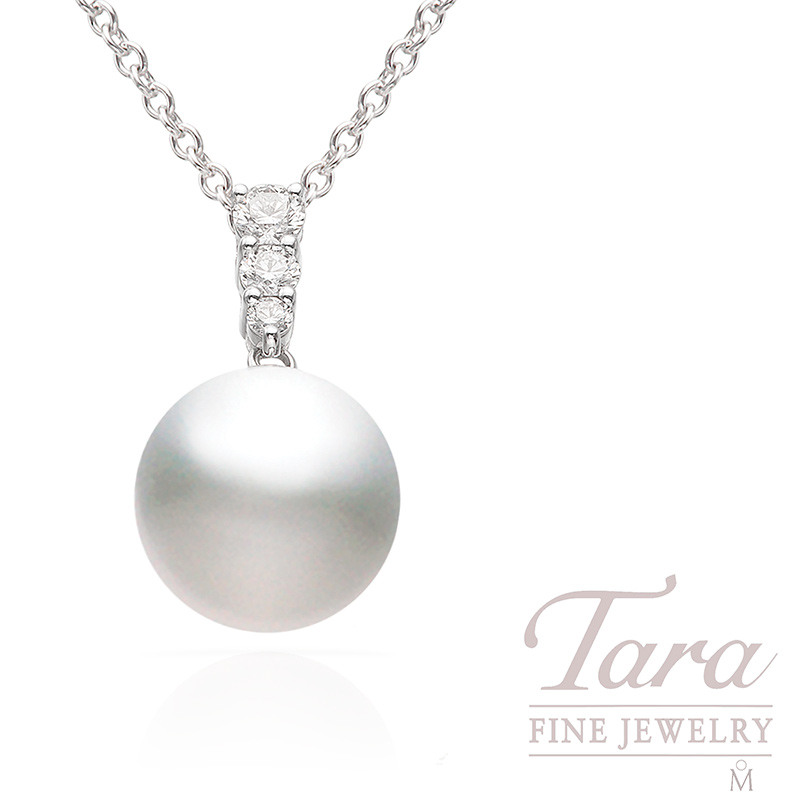18k White Gold Mikimoto Pearl and Diamond Pendant, .25TDW