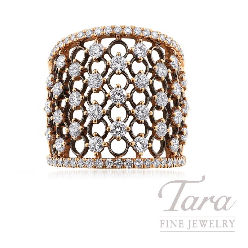 18K Rose Gold and Black Rhodium Diamond Ring, 10.1G, 1.77TDW