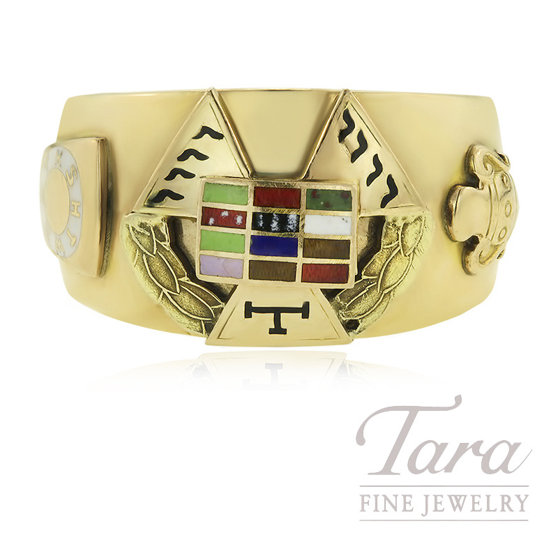 14K Yellow Gold and Enameled Masonic Ring SZ 10.25 12.8G