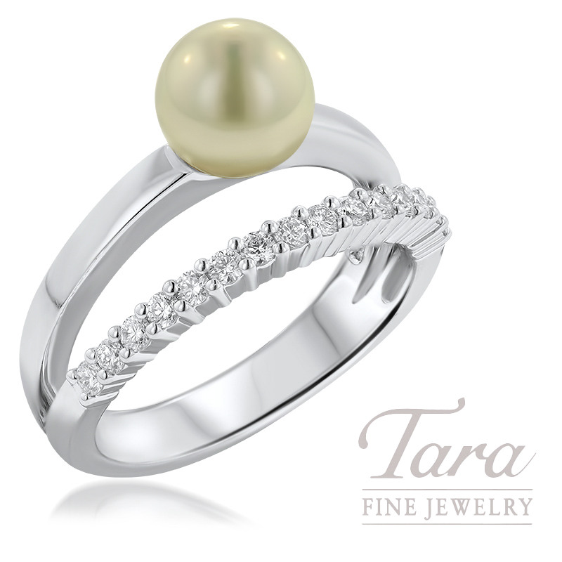 18K White Gold 7mm Pearl Ring, 15 Diamonds .23TDW