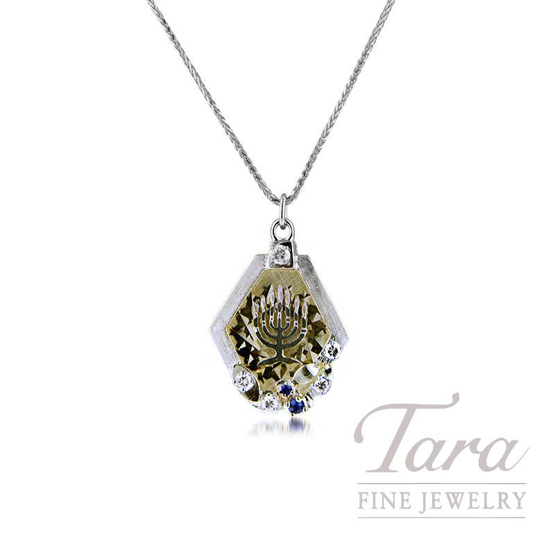 14K Yellow Gold Sapphire and Diamond Menorah Estate Pendant, 6.5G, .08TGW Sapphire, .28TDW