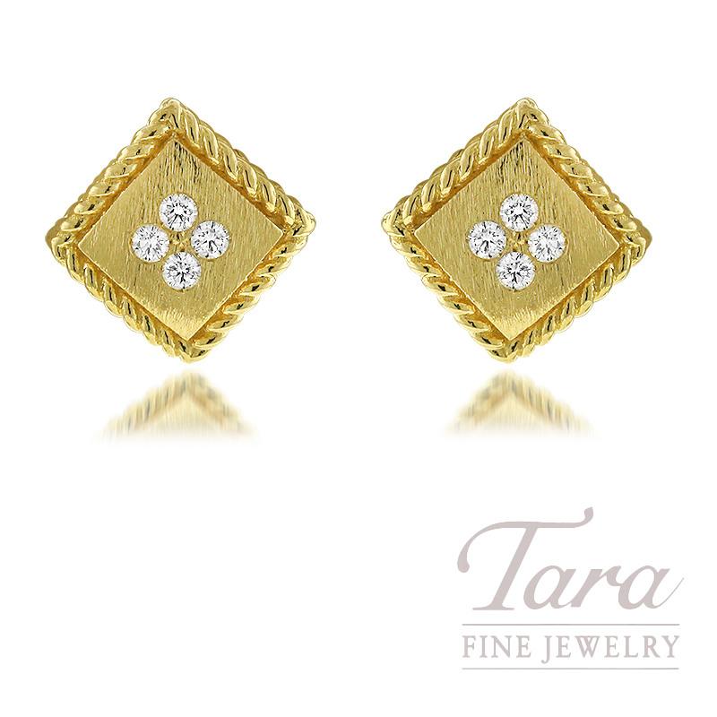 Roberto Coin 18K Yellow Gold Diamond Palazzo Ducale Stud Earrings 0.09TDW