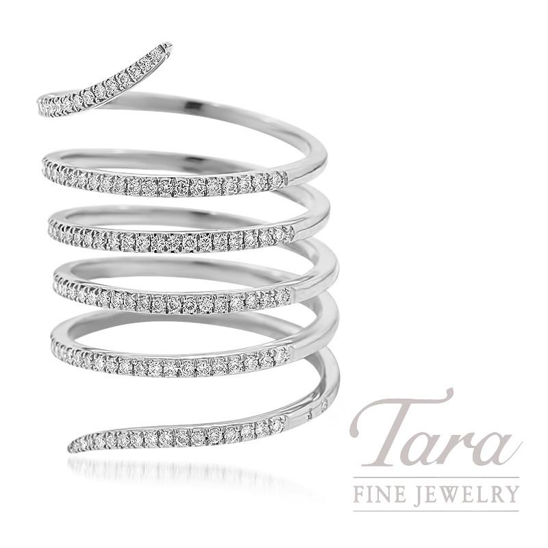18K White Gold Diamond Wrap Ring, 7.3G, .53TDW
