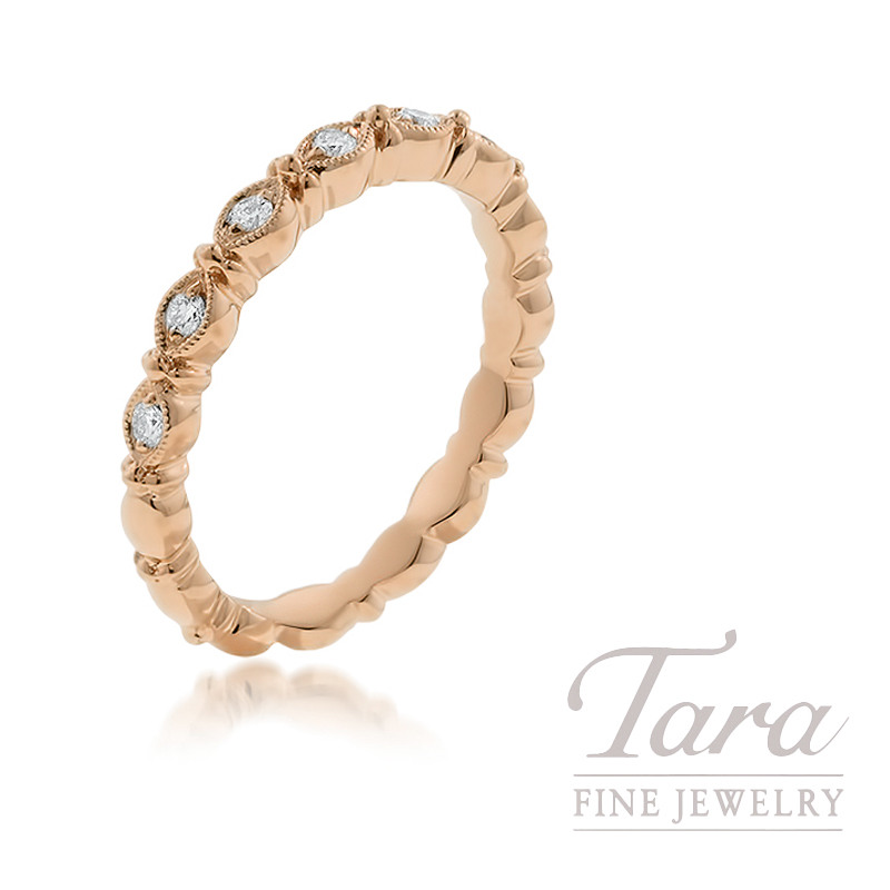 18k Rose Gold Diamond Stackable Ring, 3.5g, .13TDW
