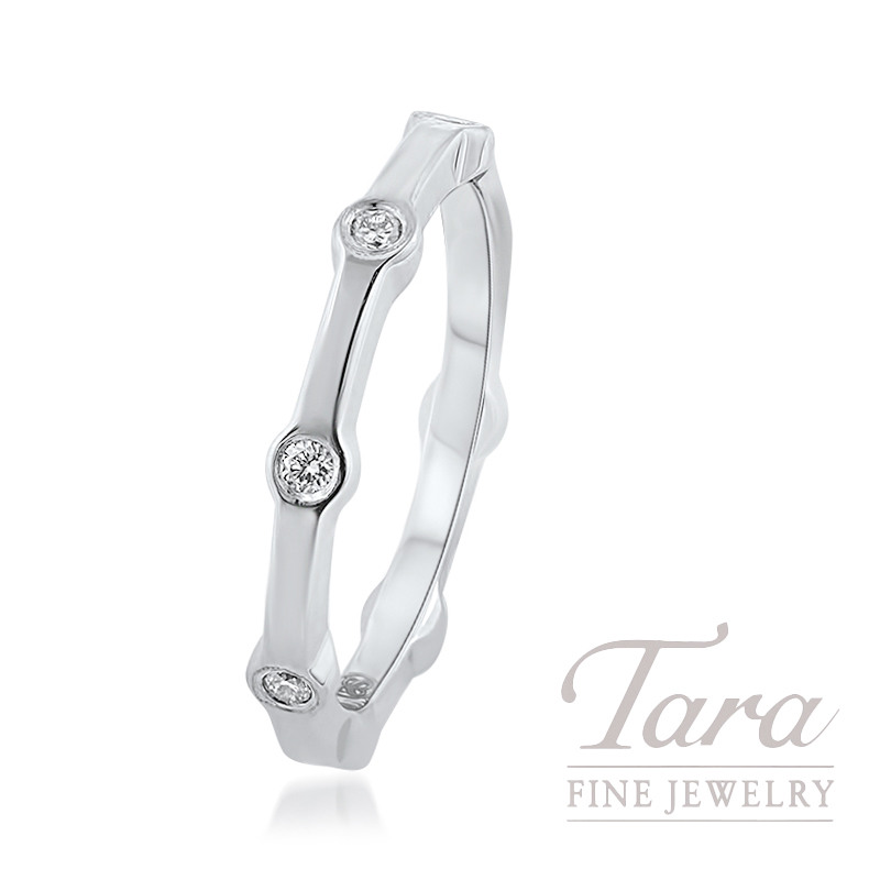 18K White Gold Diamond Band, .16TDW