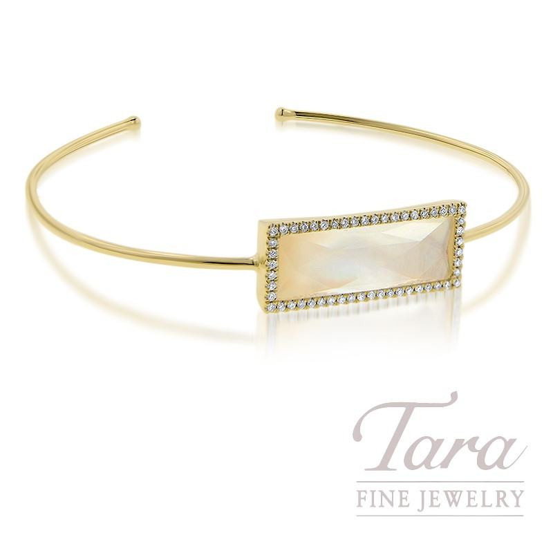 18K Yellow Gold White Topaz, Mother of Pearl, and Diamond Bangle, 7G, .25TDW
