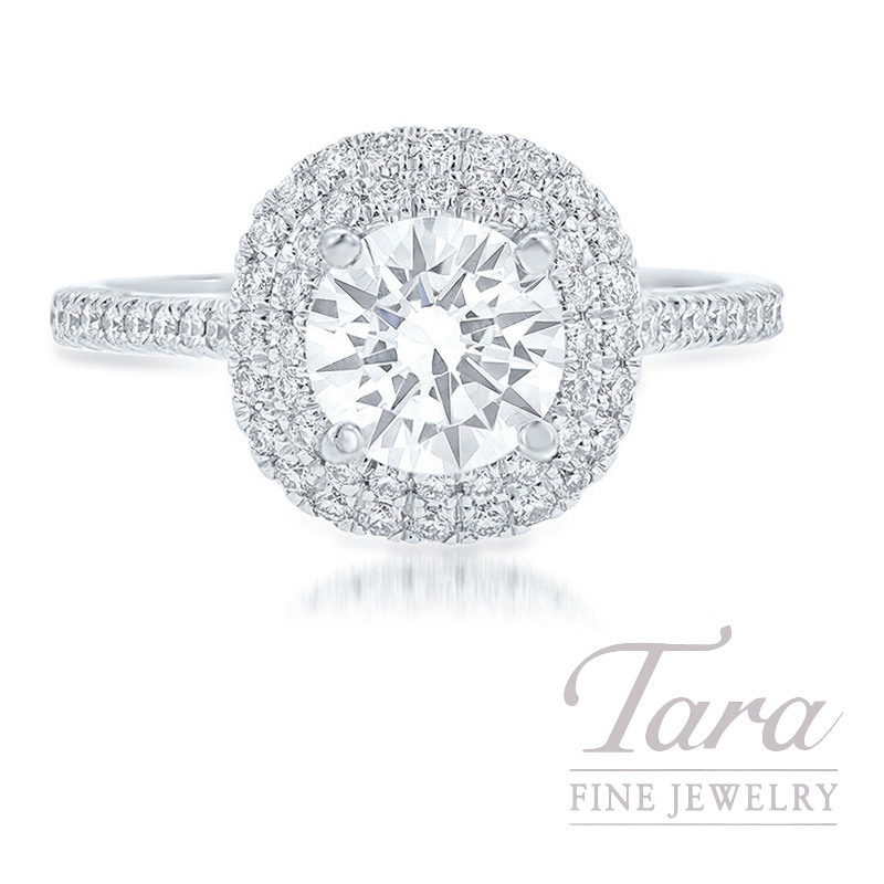 18K White Gold Aire Double Halo Engagement Ring, 3.6G, .36TDW (Center Stone Sold Separately)