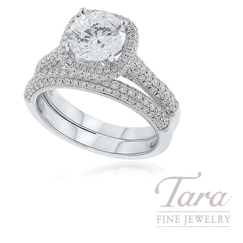 18k White Gold Pave Diamond Wedding Set (Center Stone Sold Separately)