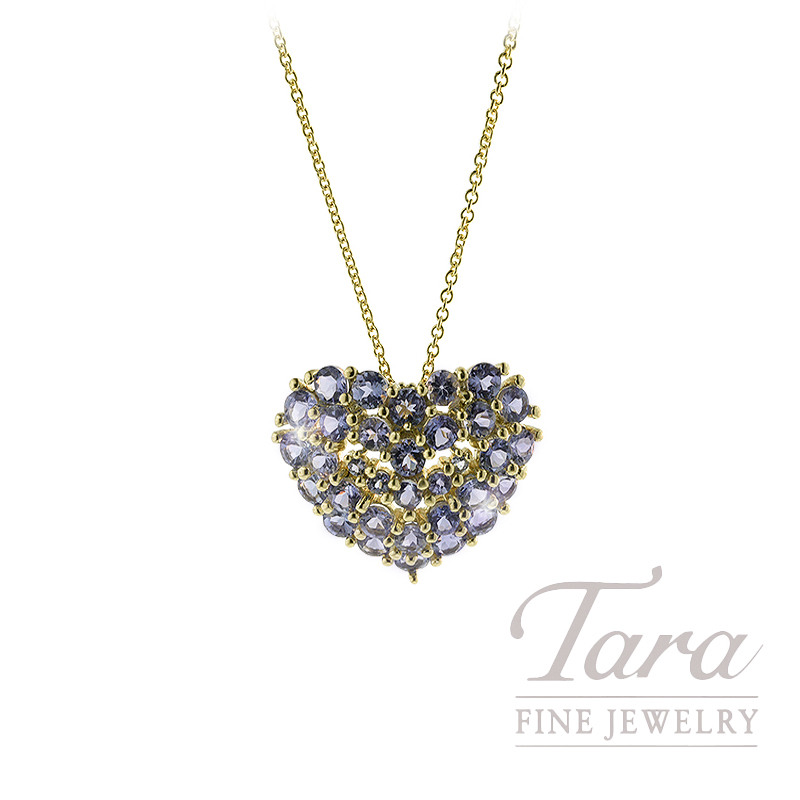 14K Yellow Gold Tanzanite Pave Heart Pendant, 3.7G