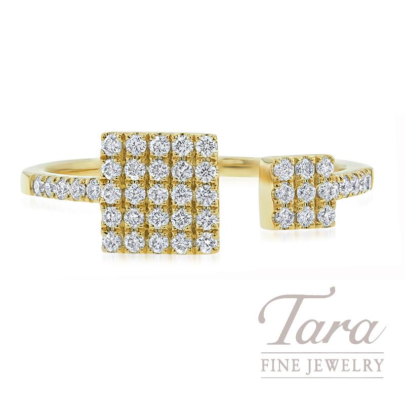18K Yellow Gold Pave Diamond Square Fashion Ring, 2.4G, .30TDW