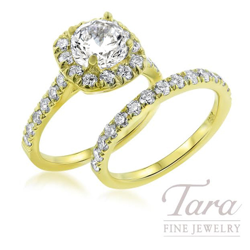 Diamond Wedding Set in 18K Yellow Gold .84TDW Semi-Mount, .58TDW Band (Center Stone Sold Separately)