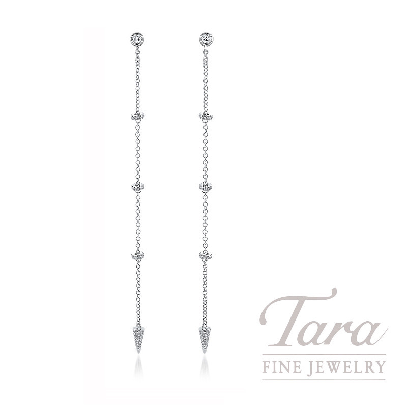 18K White Gold Diamond Earrings, 2.1G, .36TDW