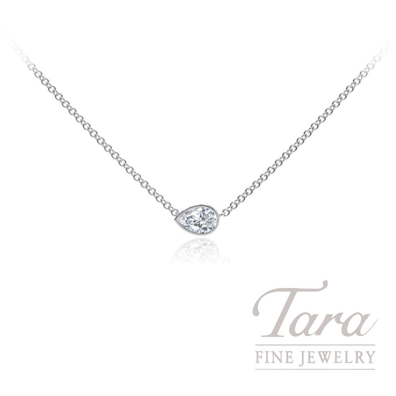 Forevermark 18k White Gold Pear-shape Diamond Bezel Necklace - Click for Available Sizes!