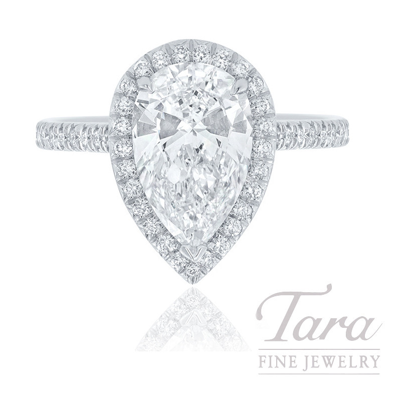18K White Gold Pear-shape Diamond Halo Engagement Ring, 2.50CT Pear-shape Diamond, .38TDW (Center Stone Sold Separately)
