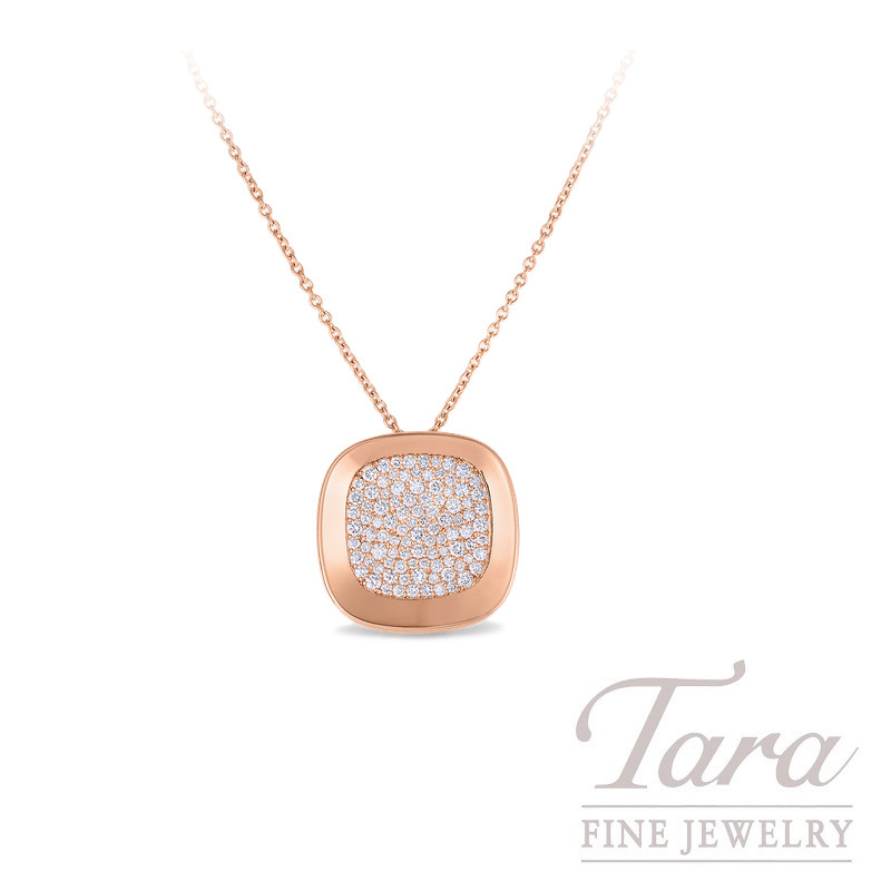 "Roberto Coin 18K Rose Gold Pave Diamond Pendant with Chain, .88TDW, ""Carnaby Street"" Collection"