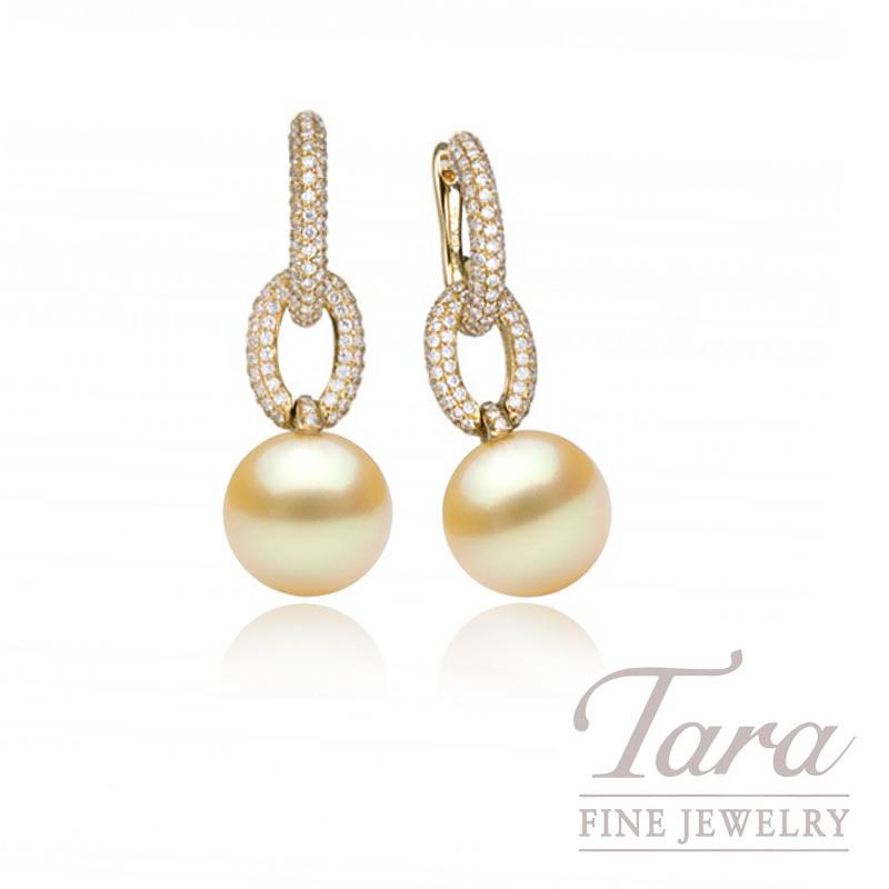 18k Yellow Gold Golden South Sea Pearl & Diamond Hoop Earrings, 1.26TDW