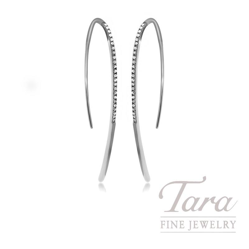 18k White Gold Diamond Earrings, 2.6g, .12TDW