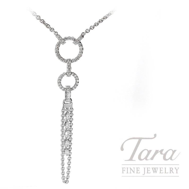 Norman Covan 18K White Gold Convertible Diamond Dangle Necklace, 48 Round Diamonds 0.48TDW,  5 Pear Shaped Diamonds  0.25TDW, 9.75 Grams